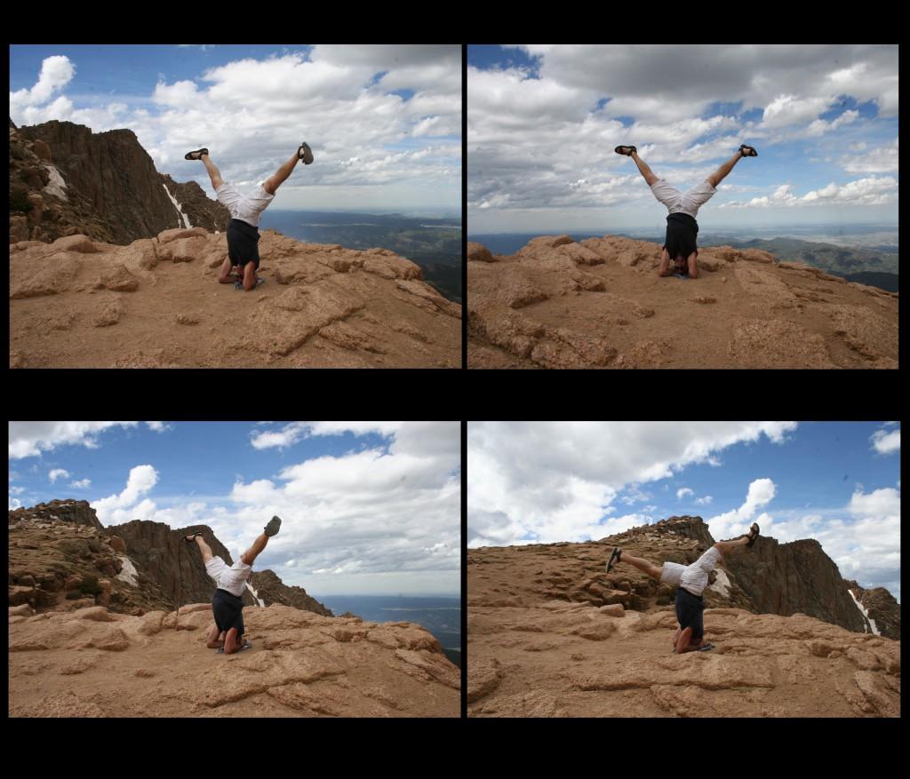 Zenhaling doing Yoga Inversions at top of Pikes Peak
